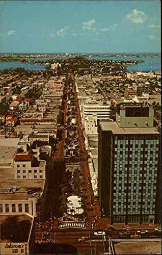 Aerial View of Lincoln Road Mall Miami Beach, Florida Original Vintage - View Mall Gulf