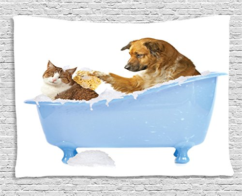 - Ambesonne Cat Tapestry, Dog Kitty in The Bathtub Together Bubbles Shampooing Having Shower Fun Artsy Print, Wall Hanging for Bedroom Living Room Dorm, 80 W X 60 L Inches, Blue Brown