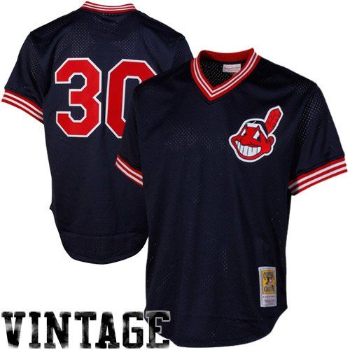 Cleveland Indians Practice Batting - MLB Mitchell & Ness Joe Carter Cleveland Indians 1986 Authentic Cooperstown Collection Throwback Mesh Batting Practice Jersey - Navy Blue (XXXX-Large)