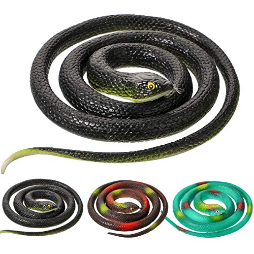 Litthing Realistic Rubber Snakes 2 Sizes 47 Inches and 29 Inches for Garden Props Prank Stuff Mamba Snake ()