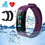 DETUOSI Fitness Tracker HR IP68 Waterproof Activity Tracker with Heart Rate Monitor Color Screen Smart Watch with Sleep Monitor Calorie Counter Step Counter Pedometer for Women Men Kids (Purple)