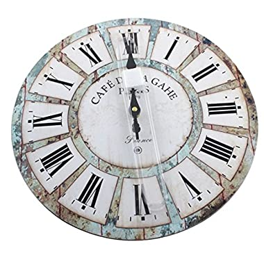 12  Vintage Roman Numeral Design France Paris Rusted Metal Look French Country Tuscan Style Paris Wood Wall Clock with Free Tray