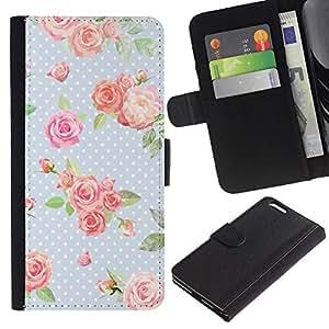 All Phone Most Case / Oferta Especial Cáscara Funda de cuero Monedero Cubierta de proteccion Caso / Wallet Case for Apple Iphone 6 PLUS 5.5 // Dot Rose Baby Blue Green Retro