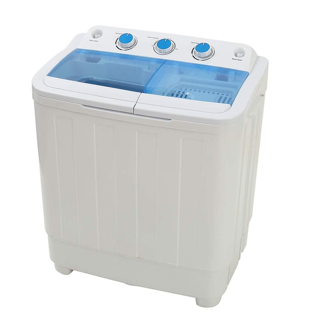 Mini Waschmaschine Schleuder Toplader Waschautomat Halbautomatisch 4, 5KG Volumen Waschkapazität 3kg Schleuderkapazität 240W Schleuderleistung Schleudertrockner (Schwarz) Enjoygoeu