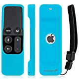 Apple TV 4K (5th Gen) Remote Control Case, Fosmon Open Logo Flexible Silicone Cover Lightweight Gel Rubber Case for Apple TV 4K 5th Generation / Apple TV 4th Generation Siri Remote Controller (Blue)