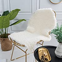 Sobibo Super Soft Faux Sheepskin Rug, Chair Cover, Seat Cushion Pad Plush Fur Area Rugs for Bedroom,2ft x 3ft, White