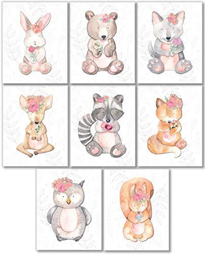 Woodland Animals Art Prints - Nursery Wall Decor - (Set of 8) - 8x10 - Unframed