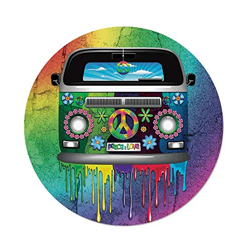 Polyester Round Tablecloth,Groovy Decorations,Old Style Hippie Van with Dripping Rainbow Paint Mid 60s Youth Revolution Movement Theme,Multi,Dining Room Kitchen Picnic Table Cloth Cover,for Outdoor I by iPrint (Image #1)