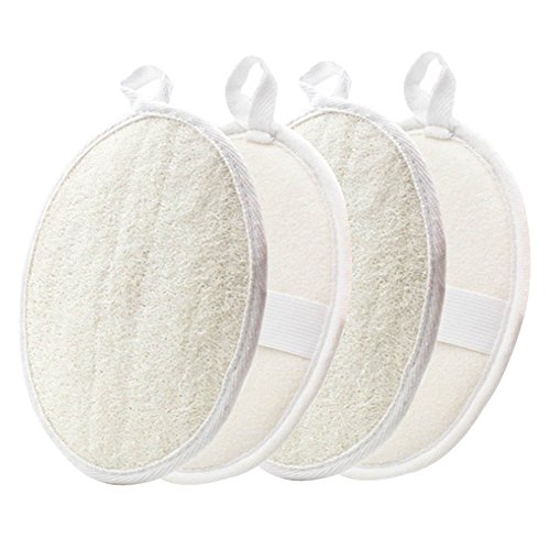 Loofah Terry Bath Pad (Exfoliating Loofah Pads-4 Pack YOSTAR 100% Natural Luffa and Terry Cloth Materials, Loofah Sponge Pads Scrubber Brush Close Skin For Men and Women)