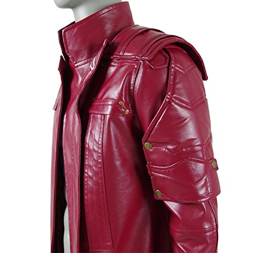 Men's Red PU Leather Trench Coat Cospaly Costume Halloween Outfit Uniform (US Men-L, Red) by FANER (Image #5)