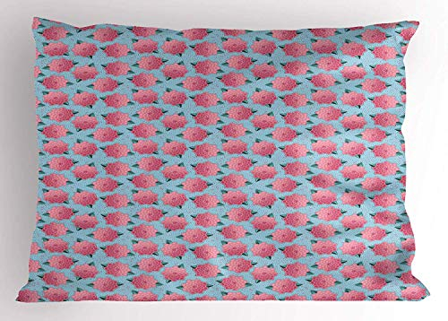 K0k2t0 Flower Pillow Sham, Blooming Field on Abstract Modern Small Stripes and Dots Motif, Decorative Standard Queen Size Printed Pillowcase, 30 X 20 Inches, Pale Blue Pink and Jade Green