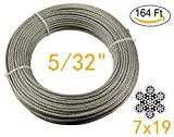 Muzata Stainless Aircraft Steel Wire Rope Cable For Railing ,Decking, DIY Balustrade, 5/32Inch,7x19,164Feet