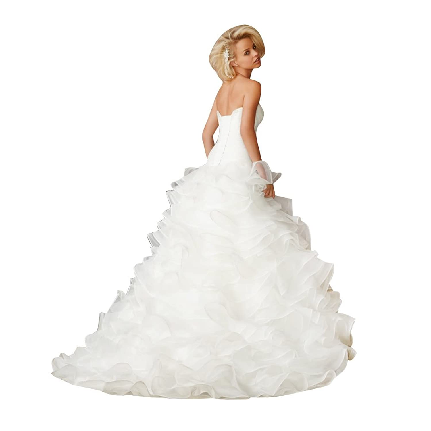 GEORGE BRIDE Sweetheart Neckline Organza Over Satin Tiered Wedding Dress