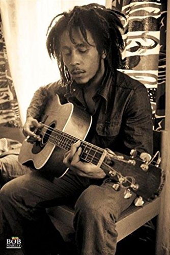 Pyramid America Bob Marley-Playing Guitar in Sepia, Music Poster Print, 24 by 36-Inch