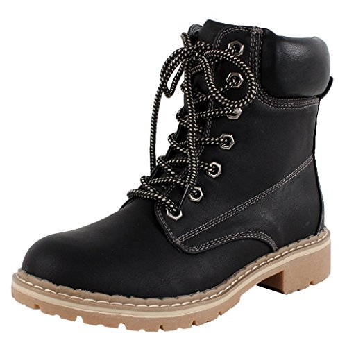 Forever Broadway-3 Women's Combat Lace up Padded Cuff Martin Boot 7 Eyes Waterproof Slip-Resistant Hiking Outdoor Work Shoes Ankle Short Boot