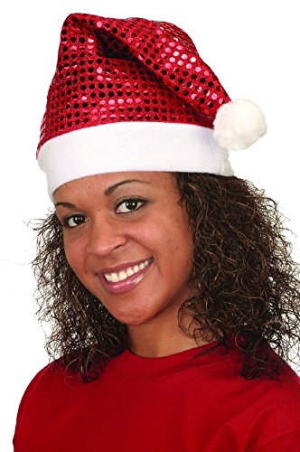 Jacobson Hat Company Women's Red Sequin Santa Hat, Red/White, One Size -