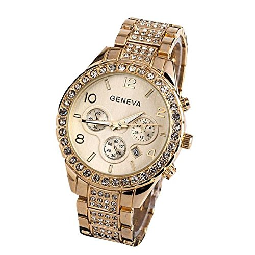 Crystal Gold Links Color Watch (Dressin Women Geneva Watch,Luxury Iced Out Pave Floating Quartz Calendar Rose Gold Stainless Steel Watch,Crystal Rhinestone chronograph Watch With Metal Link Band (Gold))