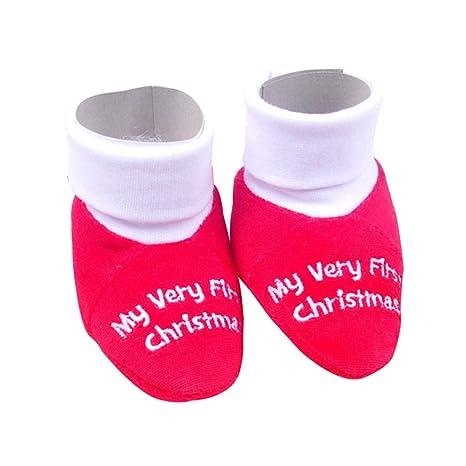 STOBOK Zapatillas de Bebé de Navidad Calcetines de Algodón para bebés de 0 a 12 Meses