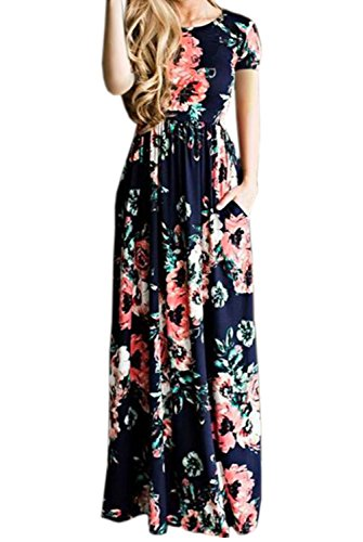 Crew Dress Women's Maxi Casual Blue Deep Floral Sleeve Amstt Print Long Short Neck UpFqTxn