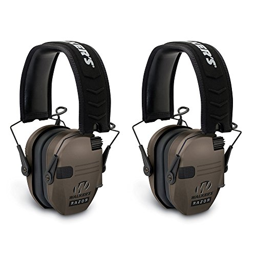 - Walkers Razor Hearing Protection Dark Earth Slim Shooter Folding Earmuffs, Pair