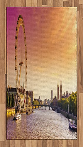 Lunarable London Area Rug, Sunset View Bridge on Thames River Ferris Wheel London Eye Big Ben Westminster, Flat Woven Accent Rug for Living Room Bedroom Dining Room, 2.6 x 5 - Ferris Eye Wheel London