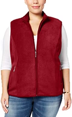 Karen Scott Plus Size Zeroproof Fleece Vest in New Red Amore