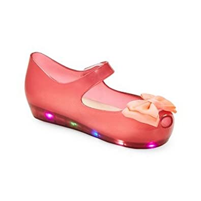 c0c067d9c776 Little Girls Red LED Light Up Flashing Bow Jelly Shoes 6 Toddler