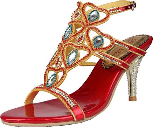 Sandals Work heeled Toe Pretty Leisure Womens Fashion Beautiful Red Wedding Rhinestone Performance Stilettos Glaring Dress Job Peep L038 Party High Salabobo Bridemaid Bride Shoes qXHwpxf8X