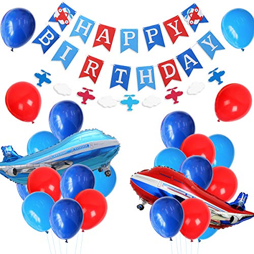 (JOYMEMO Plane Party Supplies for Boys - Airplane Birthday Party Decorations with Happy Birthday Banner, Foil Balloon, Airplane and Cloud)