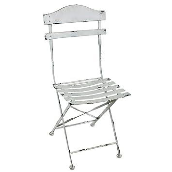 GroBartig 2er Set Landhaus Stuhl Metallstuhl Metall Vintage Weiß Gartenstuhl  Gartenmöbel