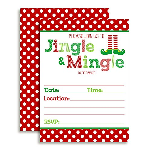 Holiday Cocktail Party Invitations (Jingle and Mingle Christmas Holiday Party Invitations, Ten 5