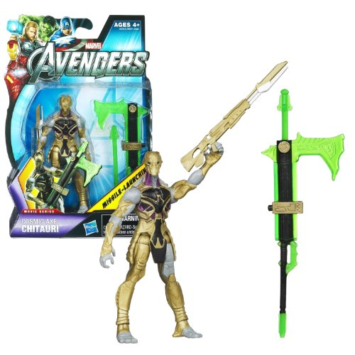 "Hasbro Year 2012 Marvel ""The Avengers"" Movie Series 4 Inch Tall Action Figure Set #16 - COSMIC AXE CHITAURI with Rifle and Battle Axe with Missile Launcher and 1 Missile"