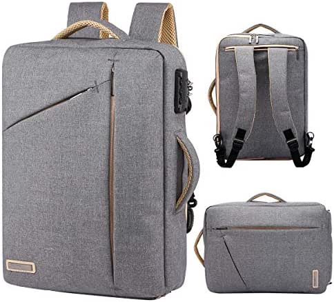 TUGUAN slim laptop backpack, small canvas business briefcase fits 15.6 inch convertible anti theft college school bookbag for men&women。