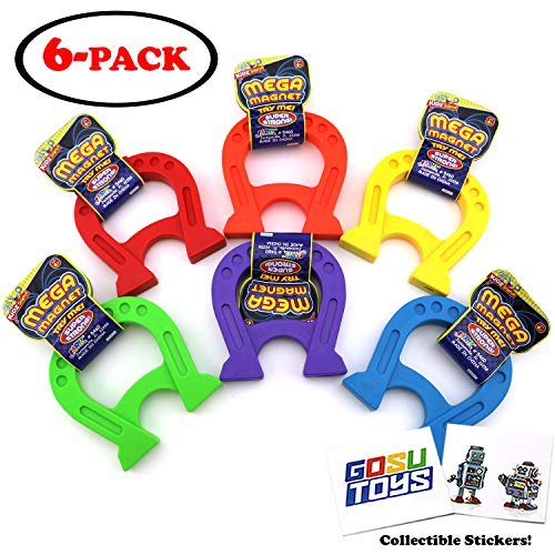 """4.75"""" (in) Mega Magnet for Kids Educational Science Experiment Horseshoe Magnet Toy for Intelligence Learning Toys and Stress Relief (6 Pack) with 2 GosuToys Stickers"""