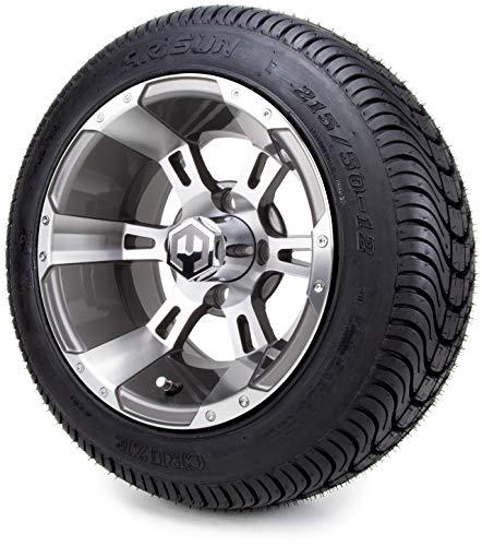 12″ MODZ Ambush Gunmetal Golf Cart Wheels and Low Profile Tires Combo Set of 4