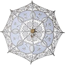 ASOSMOS Vintage Cotton Lace Parasol Umbrellas for Bridal Wedding Party Decoration Photo Props Lady Costume Accessory