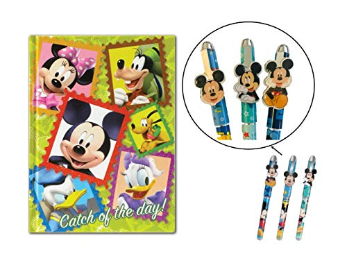 Magical Memories Collection Disney Mickey Mouse Stationery Set- Journal and 3 Pens (Mickey and Gang) - Mickey Mouse Stationery