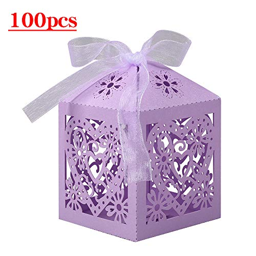 Lucky Monet 25/50/100PCS Love Heart Laser Cut Wedding Candy Gift Box Chocolate Box for Wedding Favor Birthday Party Bridal Shower with Ribbon (100pcs, Lavender) ()