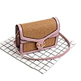 ULVMHFNH Straw Bags Women Patchwork Pu Leather Crossbody Bag White Hasp Flap Pink Mini-Max Length-20cm