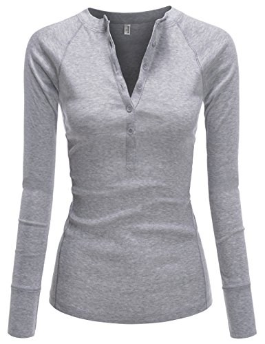 (NEARKIN (NKNKWBT64 Womens Fitted Tee Henley Neck Long Sleeve Cotton Tshirts Gray US XXS(Tag Size XS))