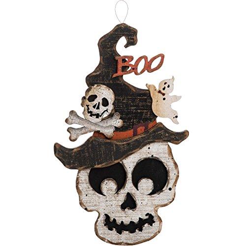 One Holiday Way Rustic Wooden Jack O Lantern Pumpkin or Skull Halloween Sign - Hanging Halloween Decoration (Skull)