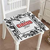 Outdoor Chair Cushion Circus Show Logo with Magician Creepy Tricks Performance Sketchy Art Black Red Comfortable, Indoor, Dining Living Room, Kitchen, Office, Den, Washable 28''x28''x2pcs