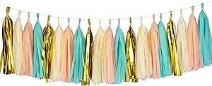Peach Cream Green Gold Paper Tassel Garland For Birthday Decorations, baby shower Balloon Tassel Tail