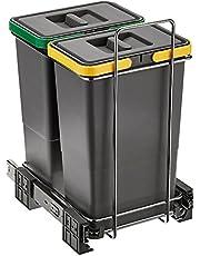 ELLETIPI ecofil PF0134C2Papelera Reciclaje extraíble para Base, plástico y Metal, Gris, 23x 41x 36cm
