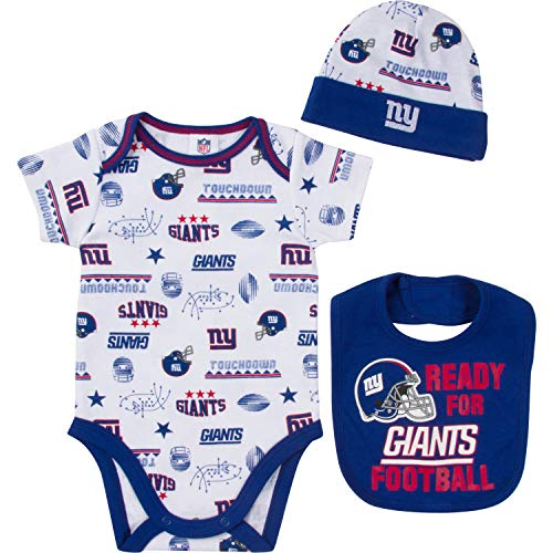 (NFL New York Giants Unisex-Baby Bodysuit, Bib & Cap Set, Blue, 0-3 Months)