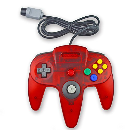 Pomilan 1 Pack Classic Retro Wired Controller For Nintendo 64 Clear Red)