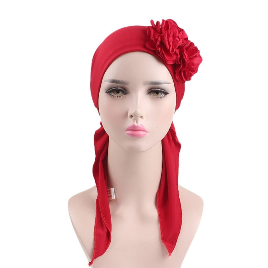 Vacally Women Muslim Long Tail Cap Bonnet Chemo Fashion Cap Scarf Wrap Hijib