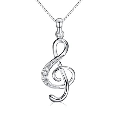 Jewellery Treble Clef Necklace Silver Plated Music Note Pendant Necklace For Women 18 Inch B0uCxF