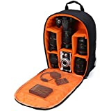 Camera Bag Camera Backpack Waterproof 16 X 13 X 5 with Rain Cover for DSLR Cameras , Lens, Tripod and Accessories (Orange, Large)