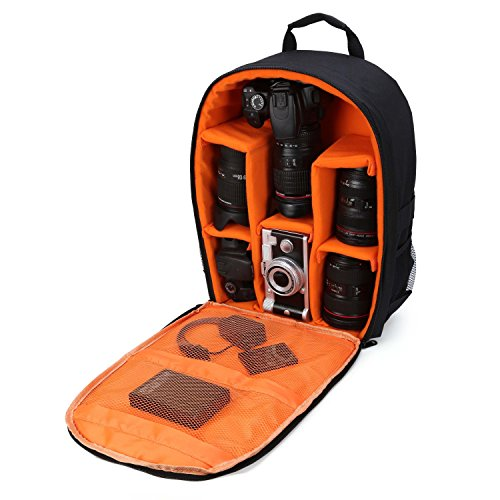 "Camera Bag Camera Backpack Waterproof 16"" X 13"" X 5"" with Rain Cover for DSLR Cameras, Lens, Tripod and Accessories (Orange, Large)"